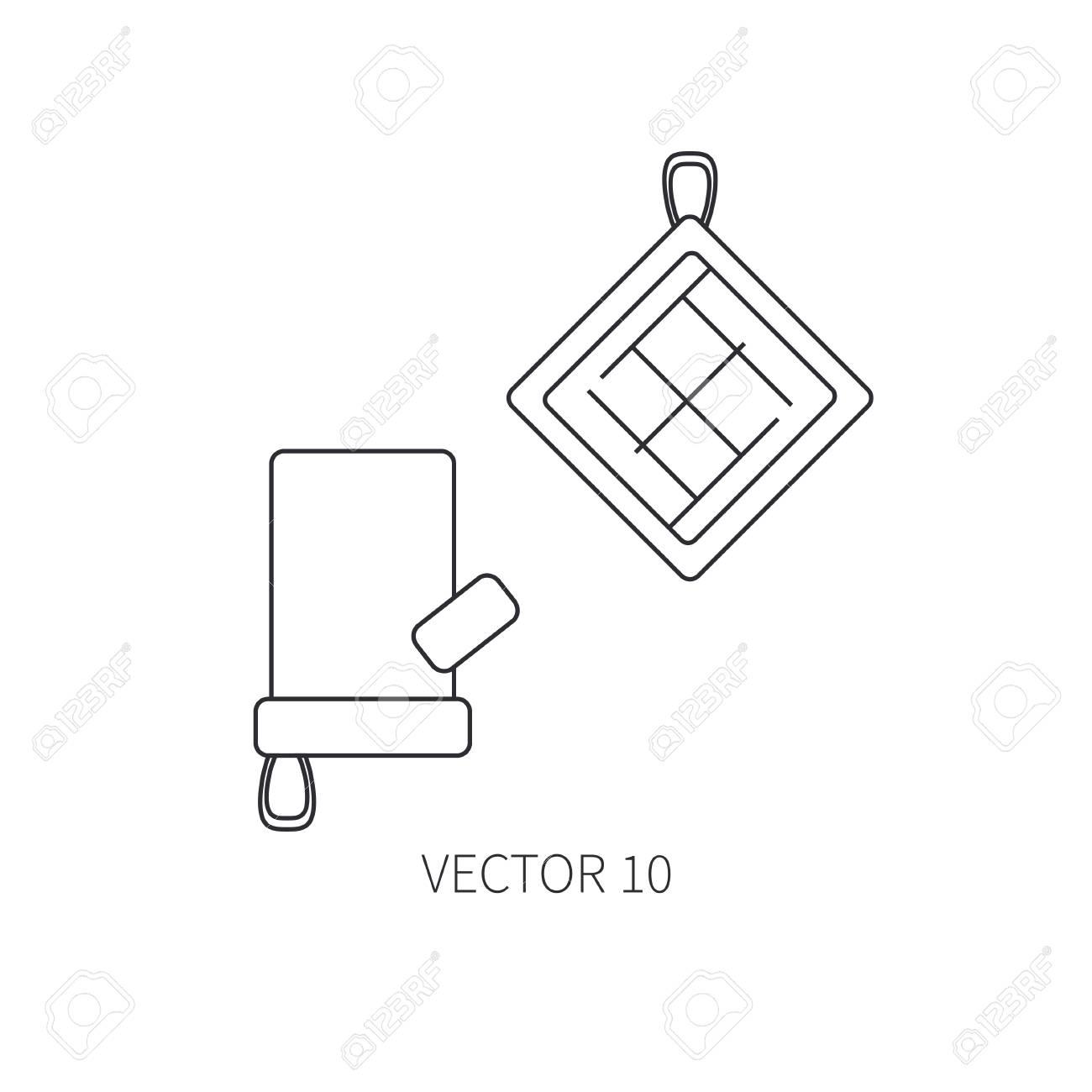 Iconos De Vector Línea Plana Utensilios De Cocina - Horno-guante ...