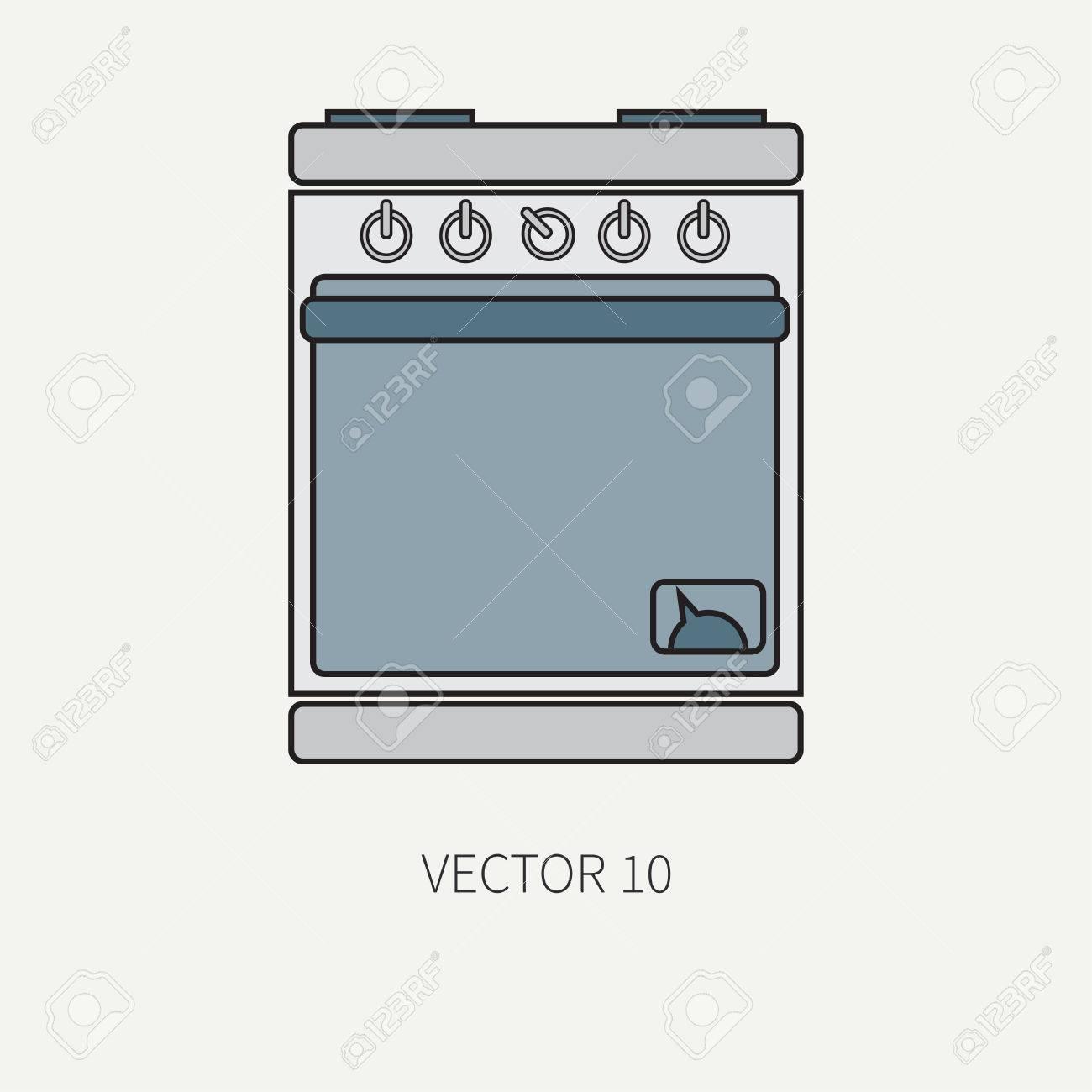 Línea De Iconos De Utensilios De Cocina De Vector De Color Plano ...