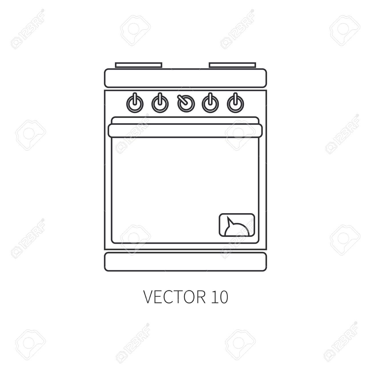 Ligne Plat Icones Vectorielles Ustensiles De Cuisine Four