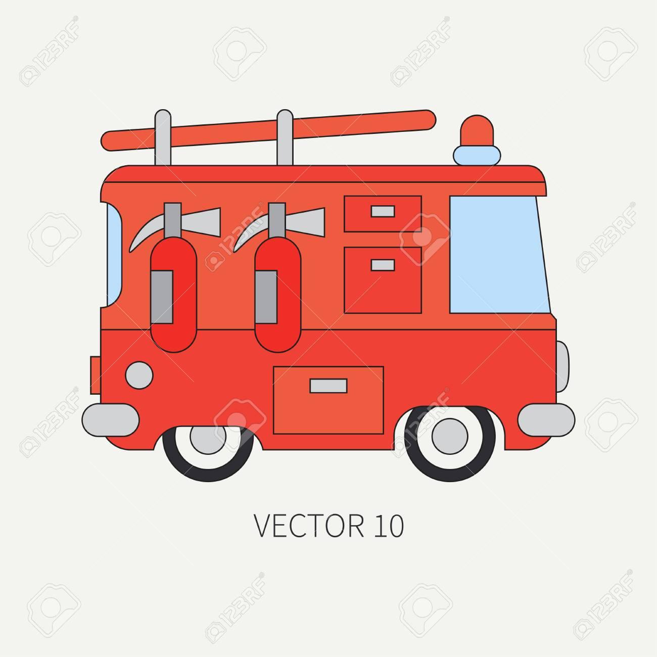 SecoursPompiers Vecteur Ligne D'urgenceStyle Camion AniméEntretienPorter De Couleur D'assistance Plat PompierVéhicule Dessin 6bgy7Yfv