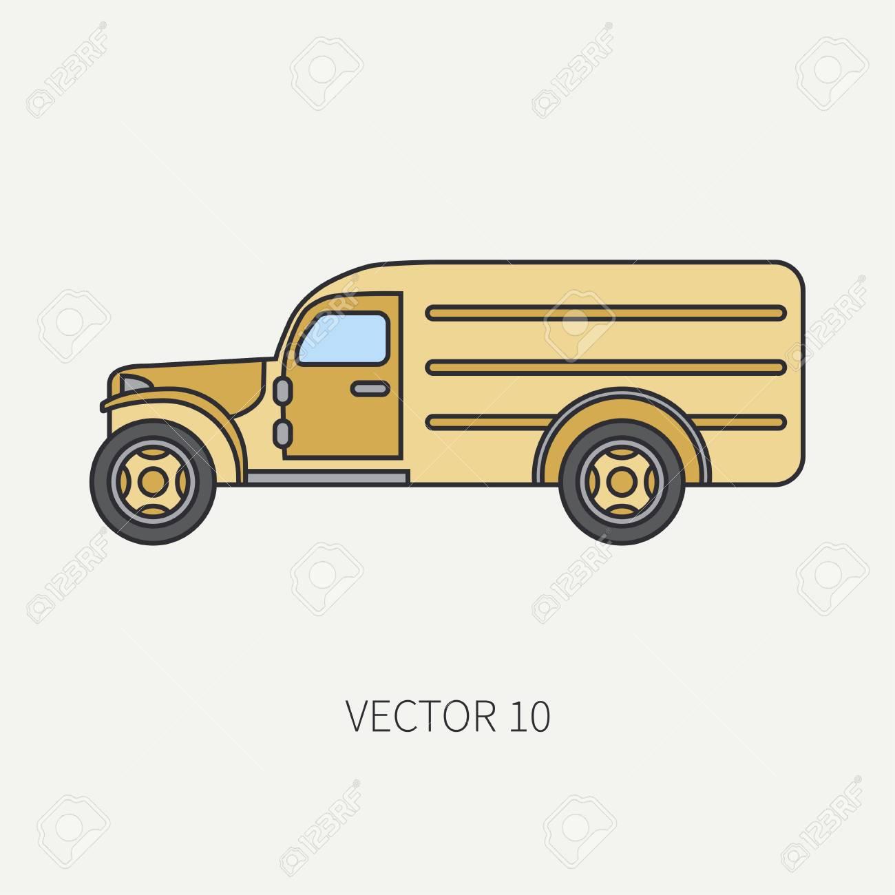 Icon Personnel Terrain Couleur Service Ligne De Armée Transport MilitaireStyle Tout Vector Animé VanVéhicule Dessin Vintage Plat kn08POw