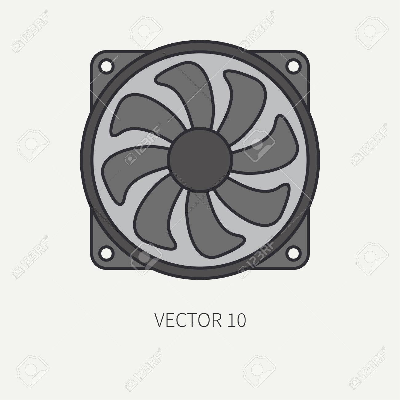 ライン フラット カラー ベクトル コンピューター部品アイコン冷却
