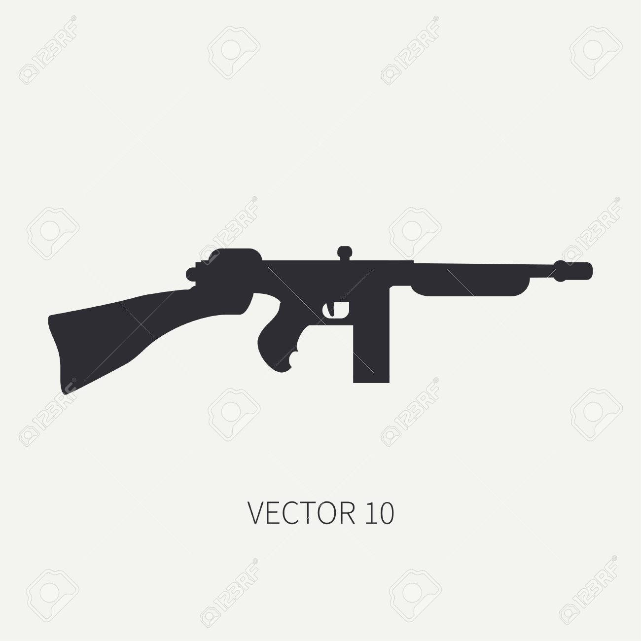 Silhouette Line Flat Vector Military Icon Machine Gun Army