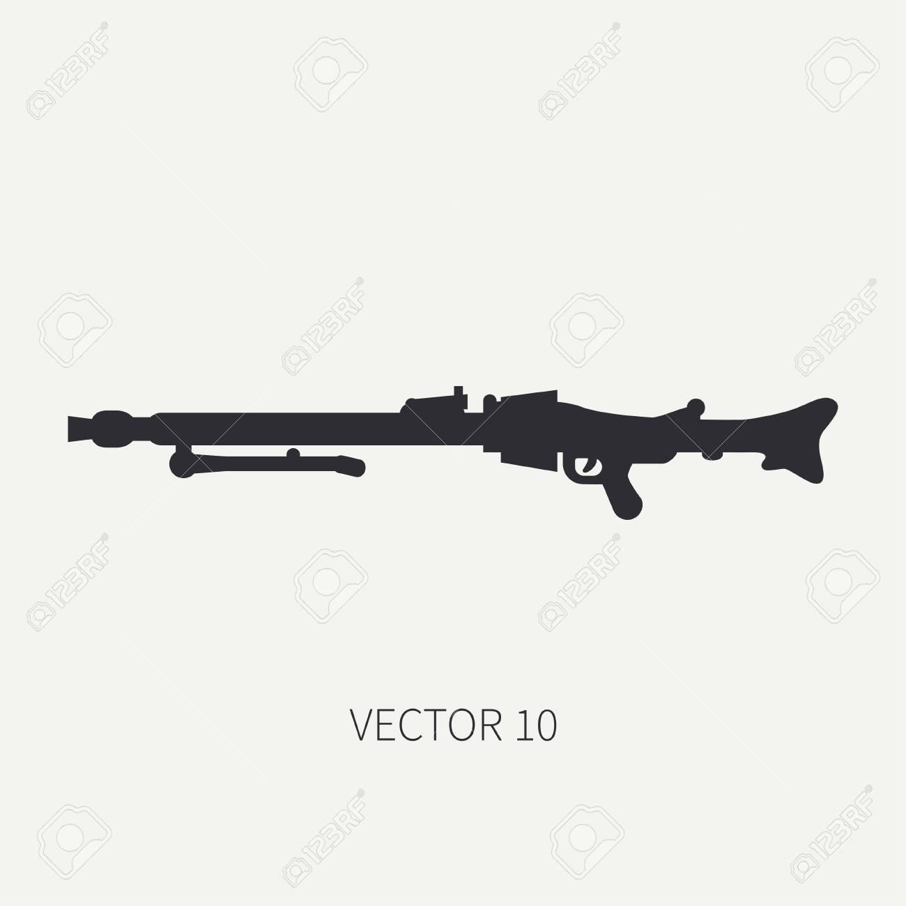 シルエット ライン フラット ベクトル軍アイコン 機関銃 軍装置