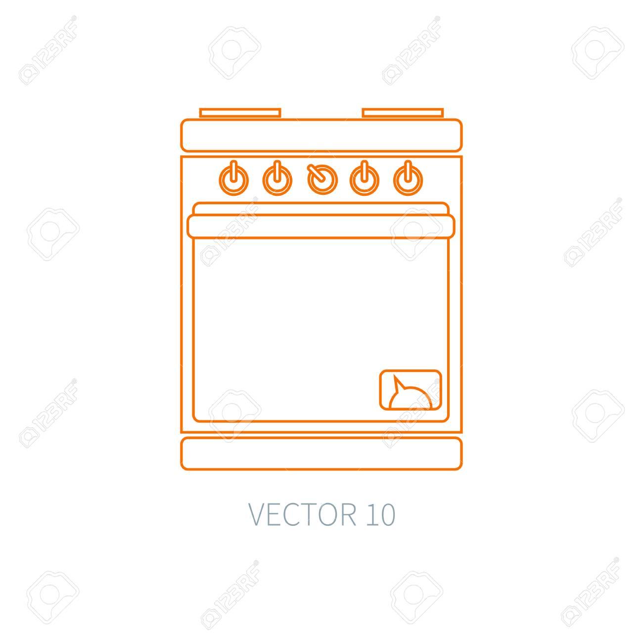 Iconos De Vector Línea Plana Utensilios De Cocina - Horno ...