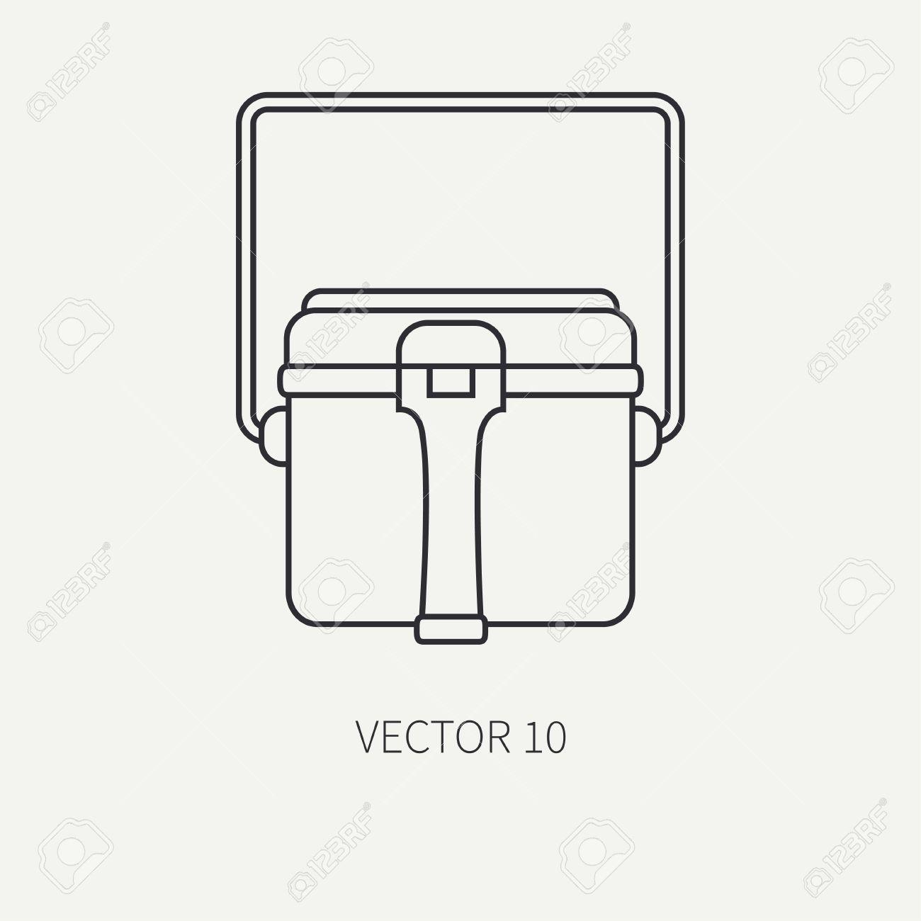 Línea De Caza De Vector Plano Y Icono De Camping - Hervidor De Agua. Equipo  De Cazador 67e8eb4058f