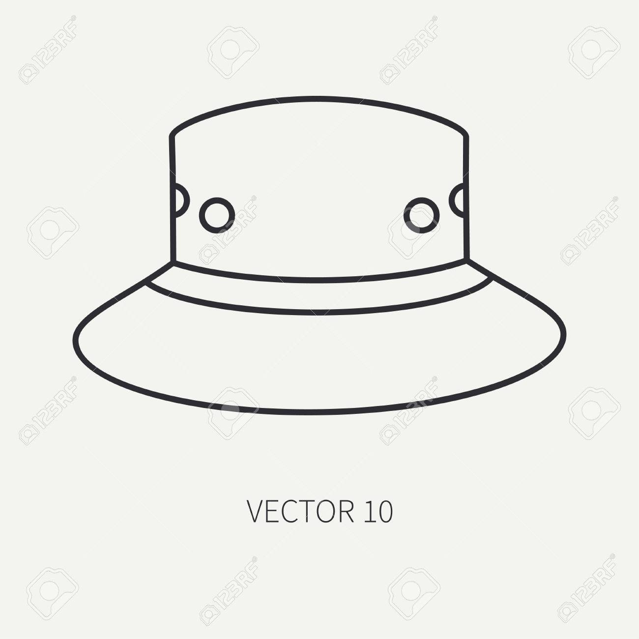 f4feb470901 Line Flat Vector Hunt And Camping Icon Hat