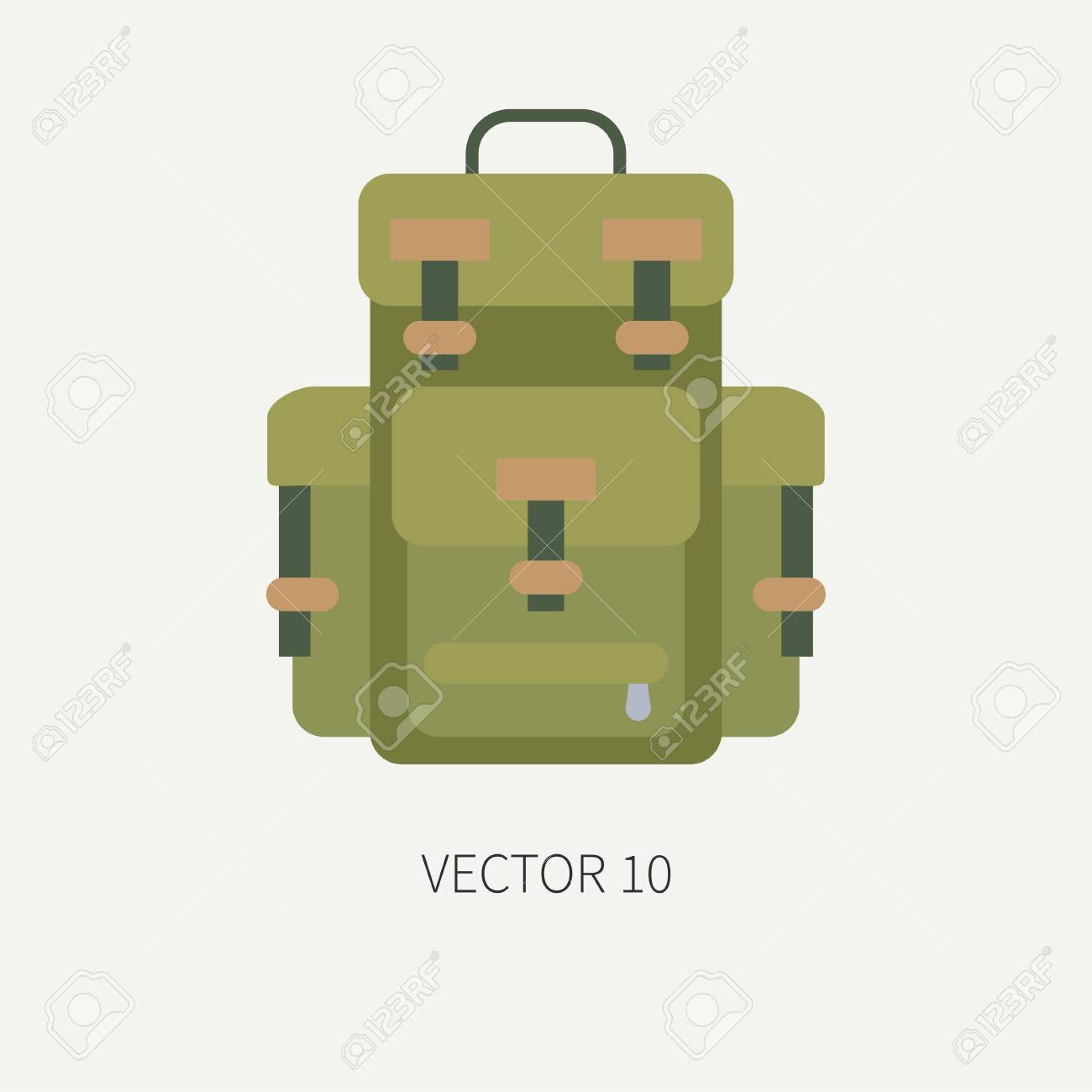 Caza De Vector De Color De Azulejo De Línea E Icono De Camping - Mochila.  Equipo De Cazadores 31f7dafadf6