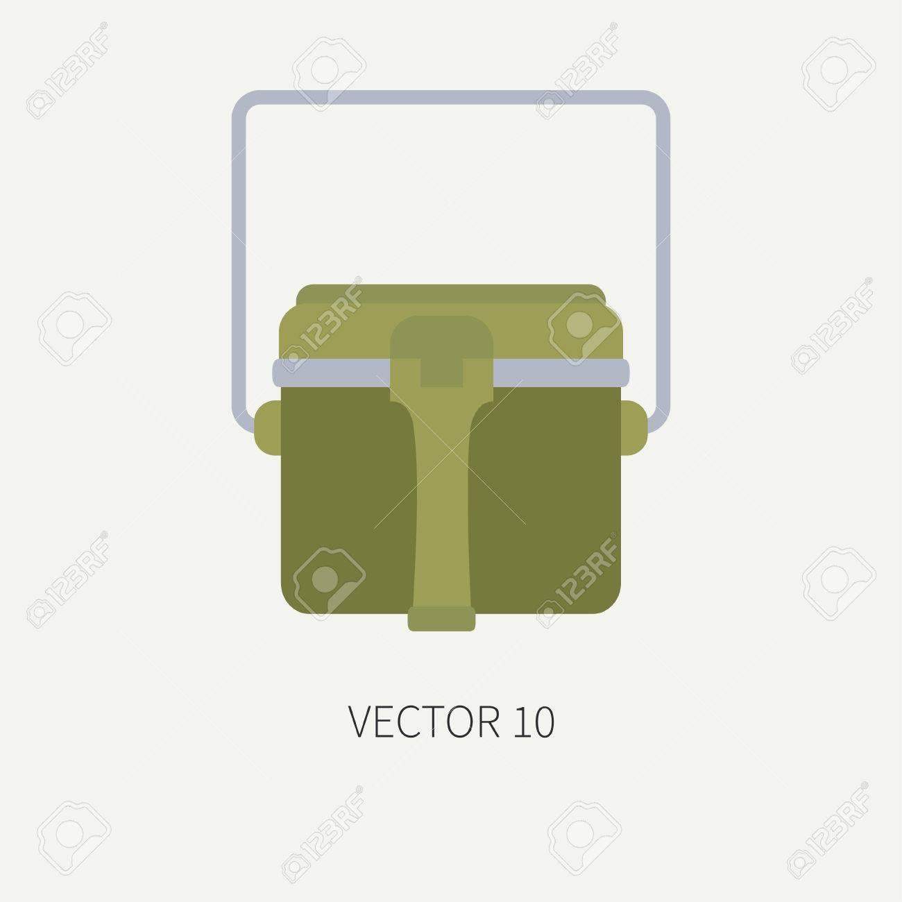 Línea De Azulejos Color Vector De Caza Y Camping Icono - Tetera. Equipo De  Cazador 09bf9bd1bca