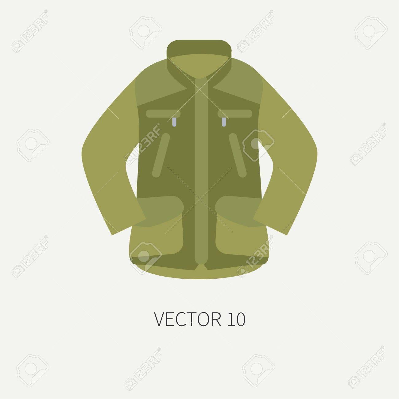 Caza De Vector De Color De Azulejo De Línea Y Chaqueta De Color Caqui Icono  De Camping. Equipo De Cazadores 907c6ca97d8