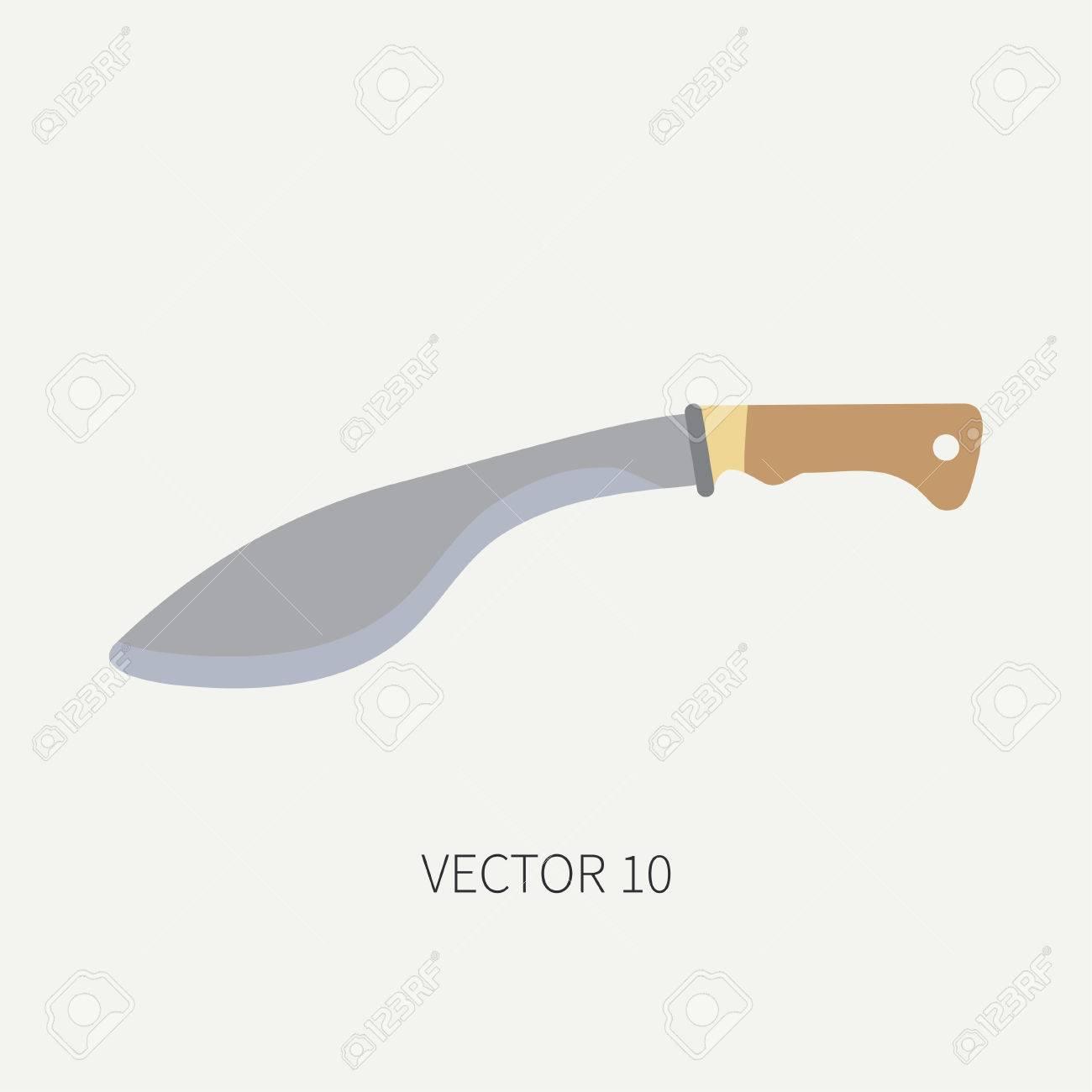 Línea De Azulejos Color Vector De Caza Y Camping Icono - Machete. Equipo De  Cazador 11f09fac1ed