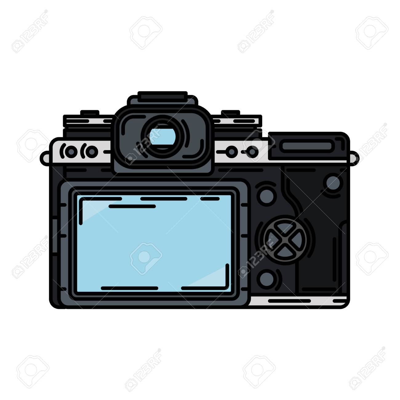 Color Vector Icon With Digital Slr Professional Camera Photography Royalty Free Cliparts Vectors And Stock Illustration Image 127031183