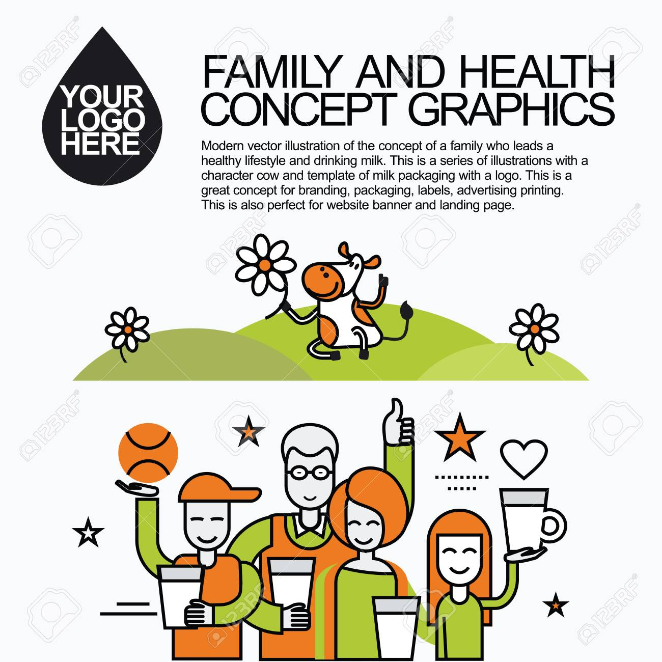 Concept of a family who leads a healthy lifestyle and drinking milk. Character cow for milk packaging with a logo for branding, packaging, advertising printing, for website banner and landing page. - 50800163