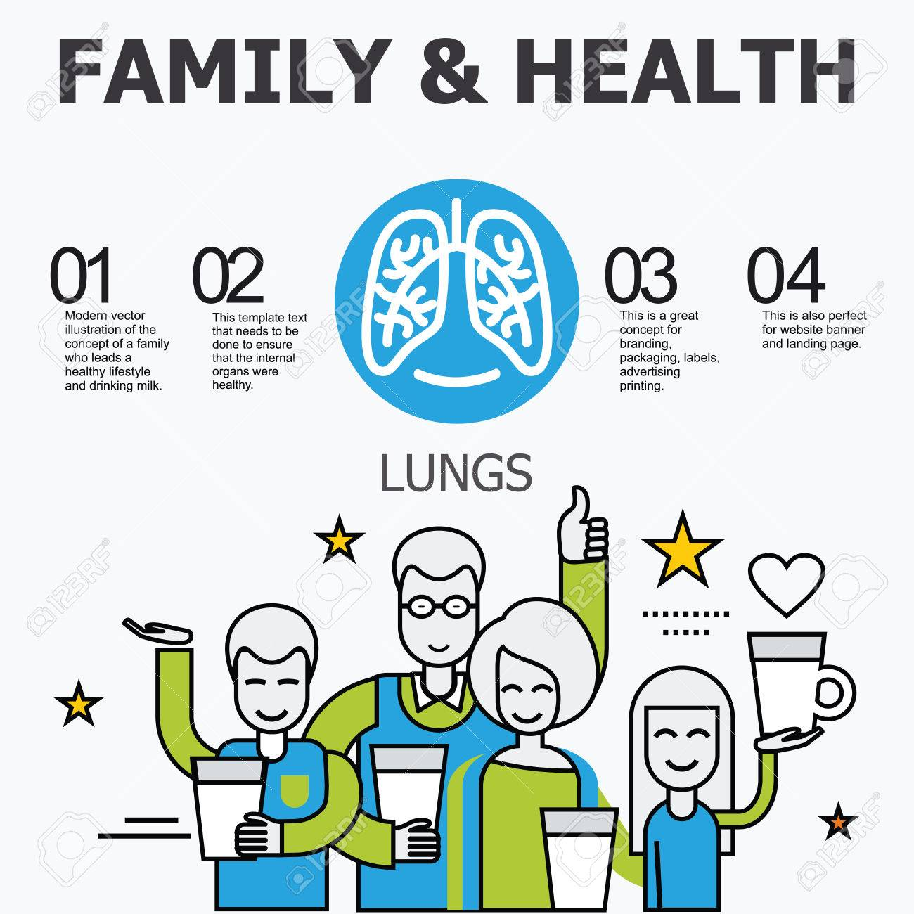 Internal Organs - Lungs. Medical Infographic Icons, Human Organs ...