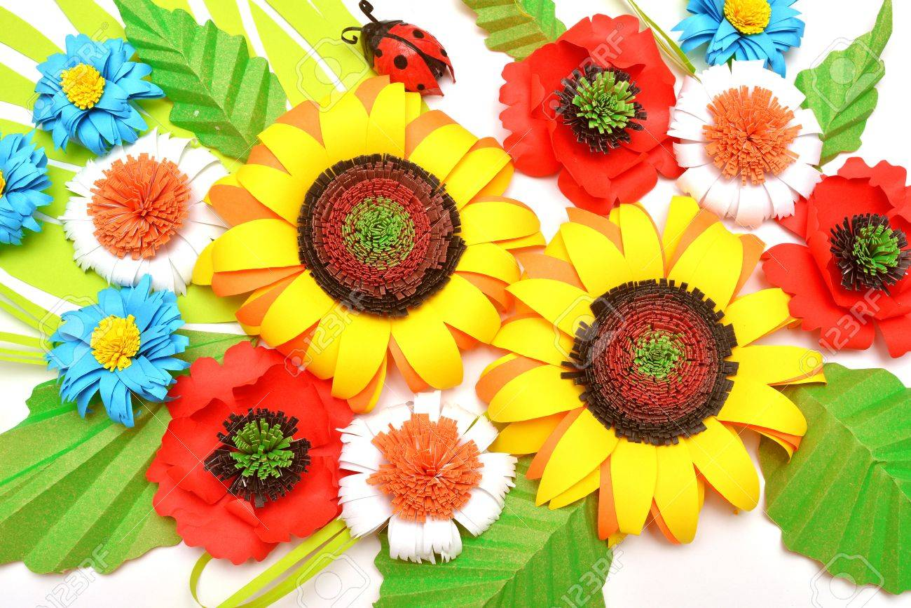 Sunflowers daisies ladybug paper origami style on a white sunflowers daisies ladybug paper origami style on a white background stock photo jeuxipadfo Gallery