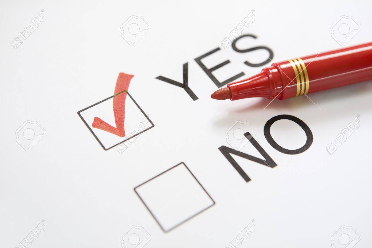 Between Yes/no Checklist, 'Yes' Was Chosen. Main Focus On The.. Stock  Photo, Picture And Royalty Free Image. Image 3956372.