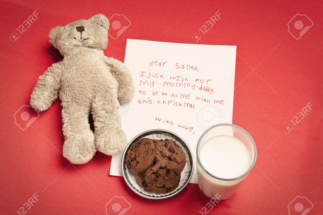 Christmas Wish Letter From Lonely Child And Teddy Bear With Stock
