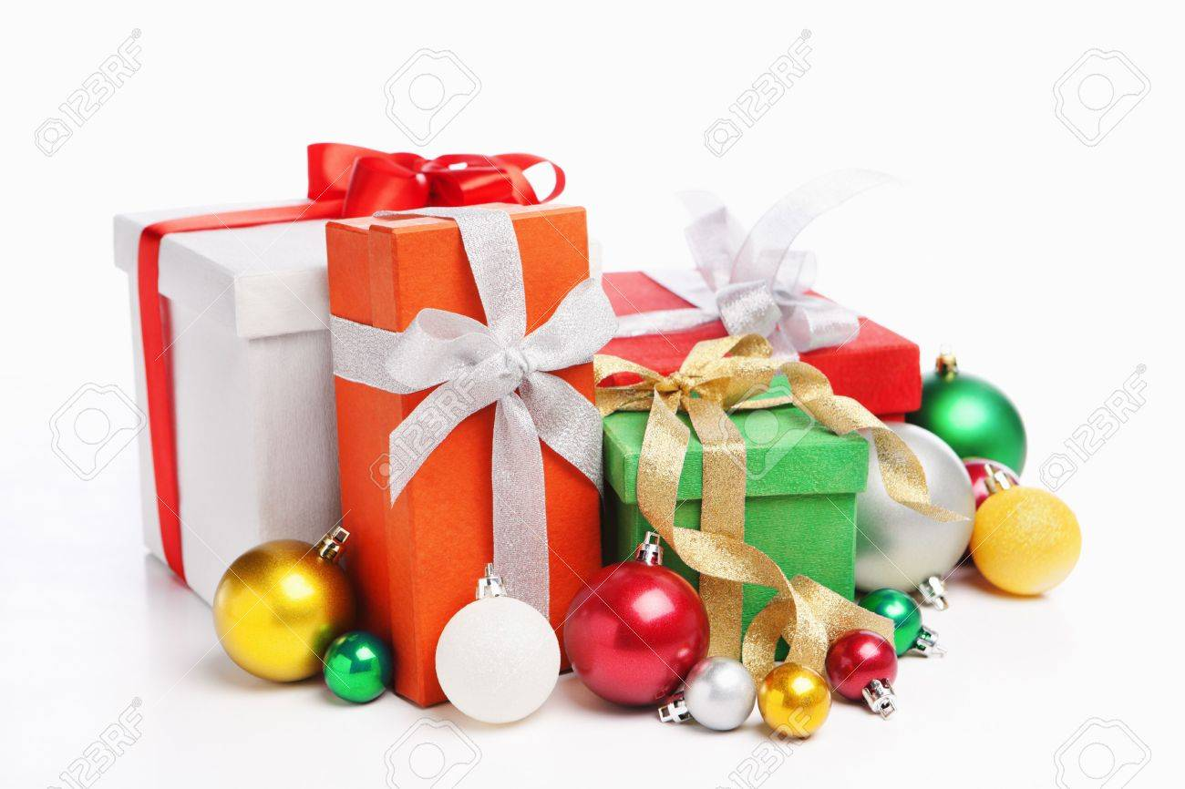 Pile of Christmas presents, shot over white background Stock Photo - 6054738