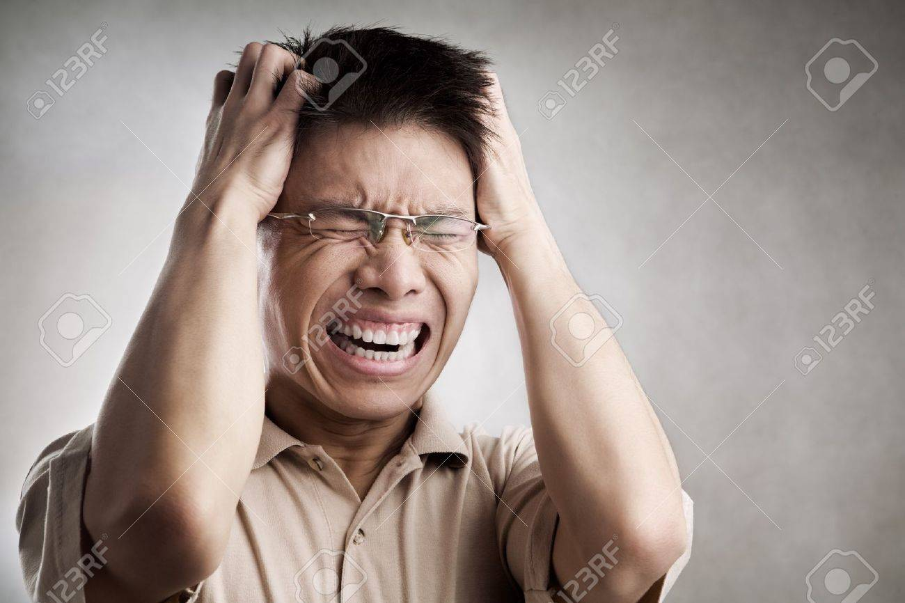 Stress Chinese man, series from several expression with vignetting and color hue in post processing Stock Photo - 7283393