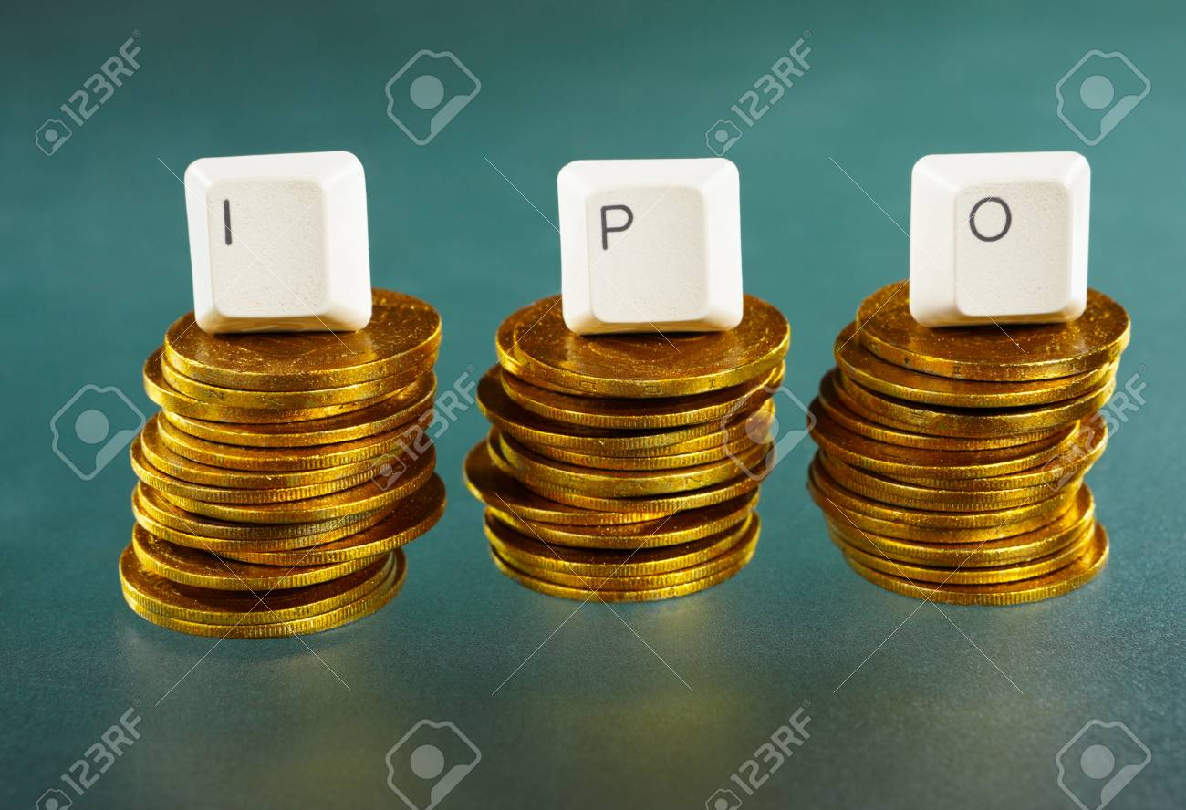IPO letter on each block over gold coins stacks Stock Photo - 9113093