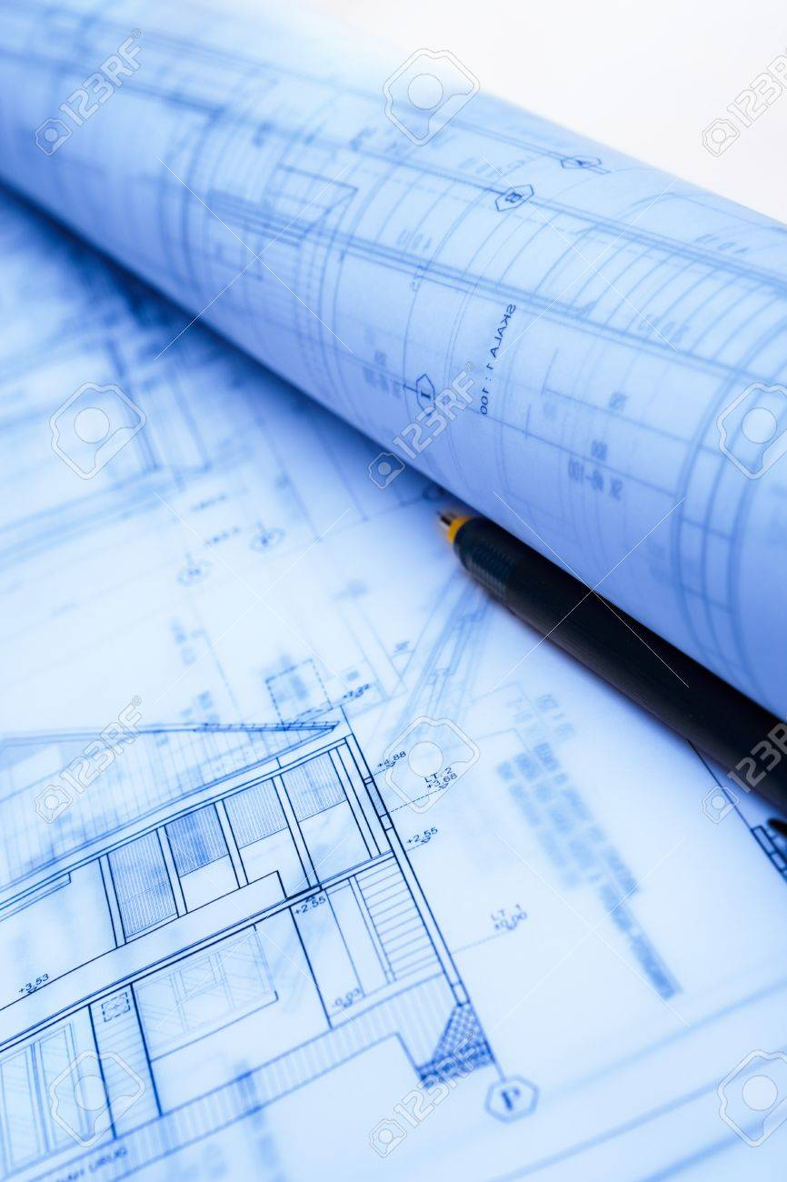 Architecture blueprint paperwork on table with drawing instruments architecture blueprint paperwork on table with drawing instruments stock photo 10178080 malvernweather Gallery