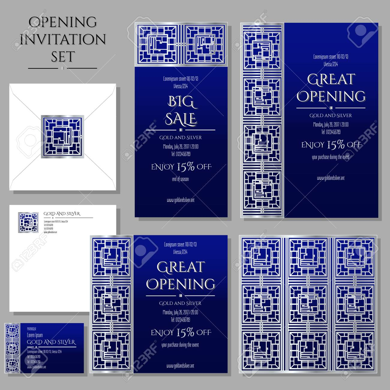 Set Of The Invitation Cards With The Silver Ornament Store Opening