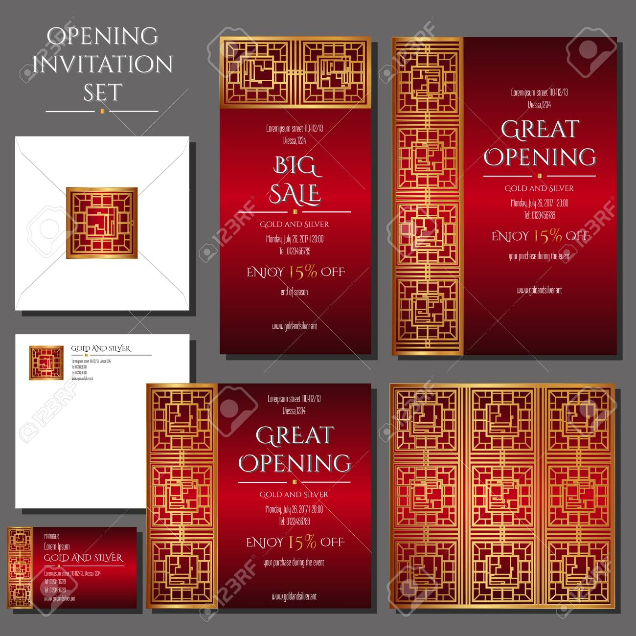 Set Of The Invitation Cards With The Gold Ornament Store Opening