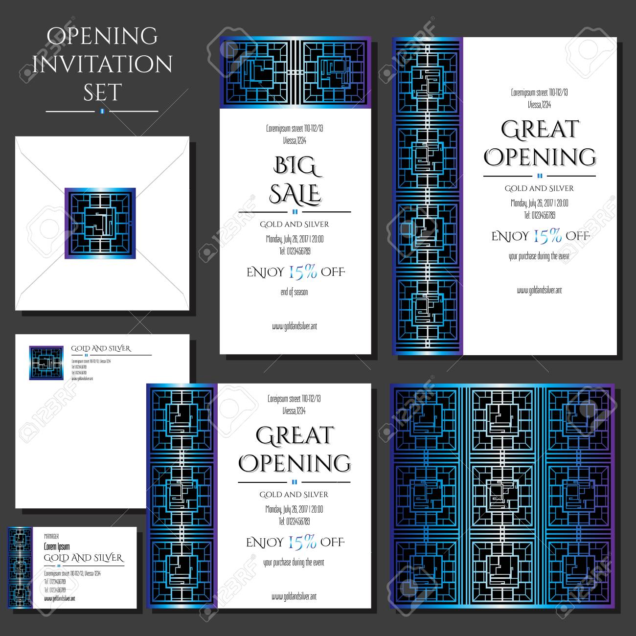 Set Of The Invitation Cards With The Blue Ornament Store Opening Collection Cards Envelope Business Card
