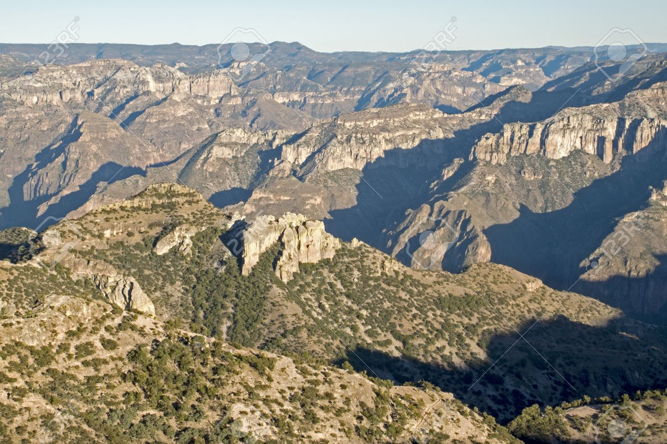Panoramic View Of The Copper Canyon In The Sierra Tarahumara ...