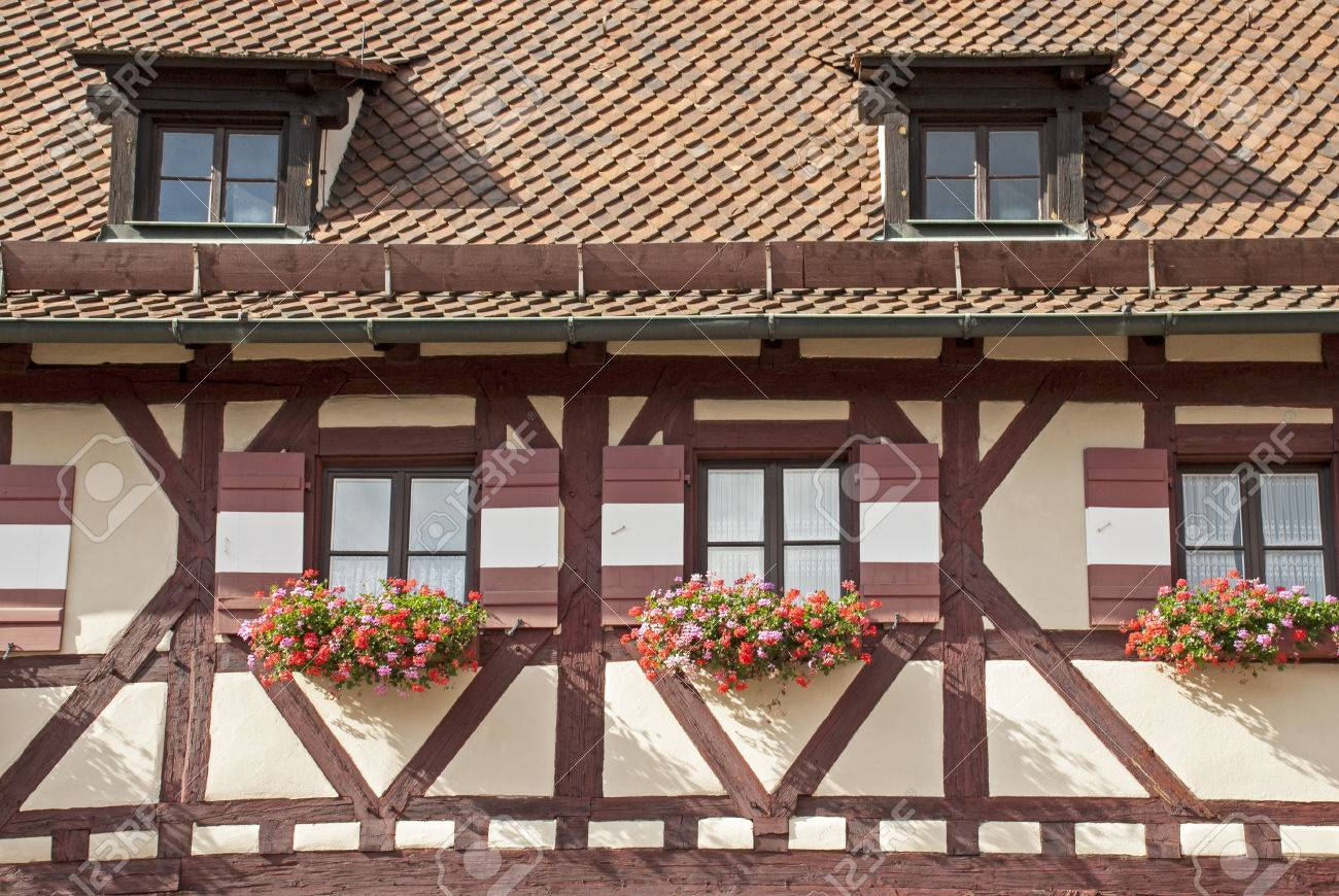 Detail Of Typical Timber Framed House In Nuremberg, Germany Stock ...