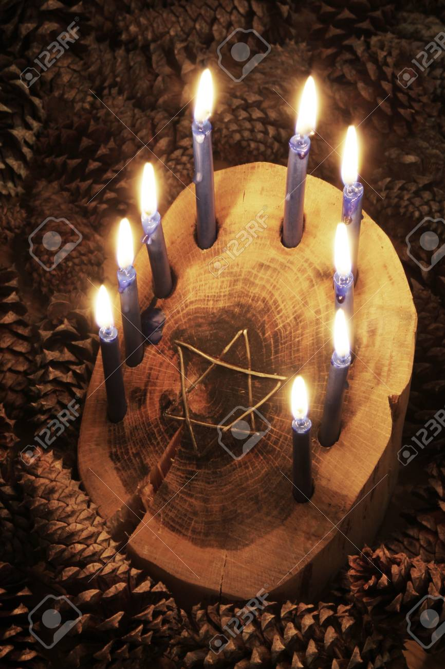 Crafted Rustic Wood Log Menorah Surrounded By Pine Cones With Stock Photo Picture And Royalty Free Image Image 88199061