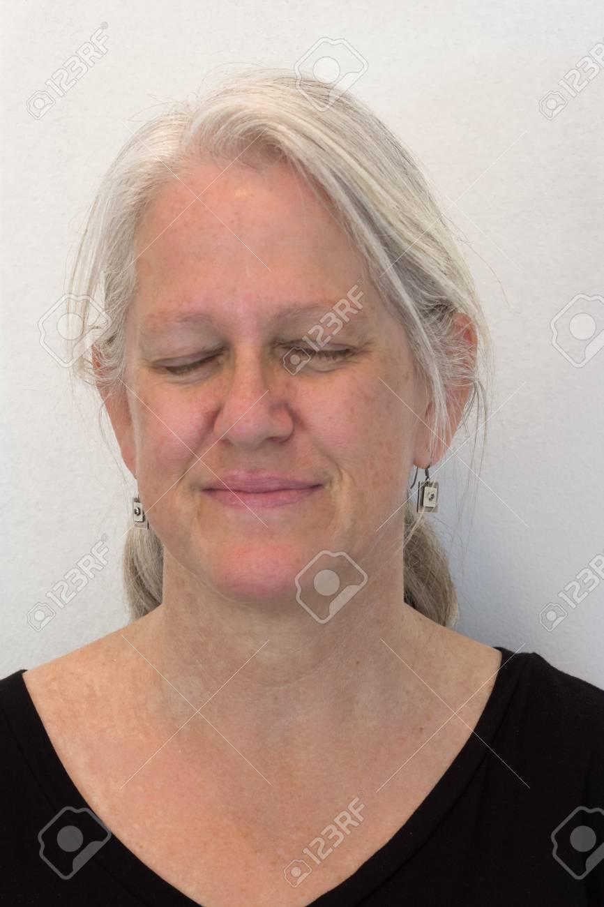 Mature Woman Natural No Makeup Eyes Closed Expecting A Surprise