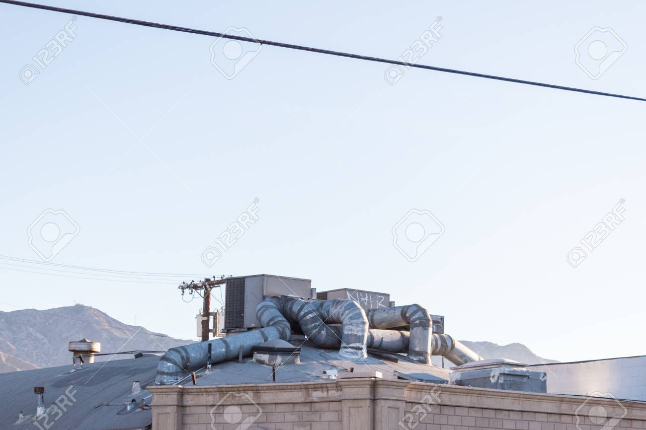 Elaborate heating and cooling system on the roof of a building