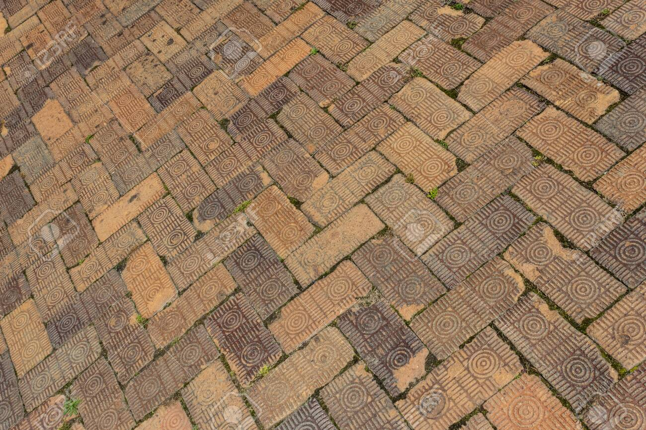 Background Of Old Brick Pavers Surface Pattern Herringbone