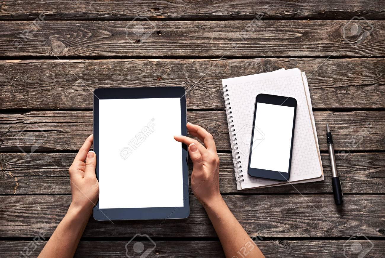 Magnificent Woman Scroll Down Screen Of Digital Tablet And Smartphone Is Download Free Architecture Designs Rallybritishbridgeorg