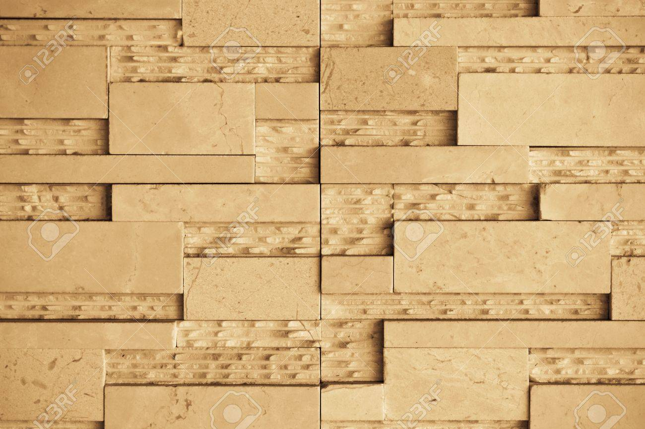 Brown Marble Set In Patterns On The Walls Stock Photo, Picture And ...