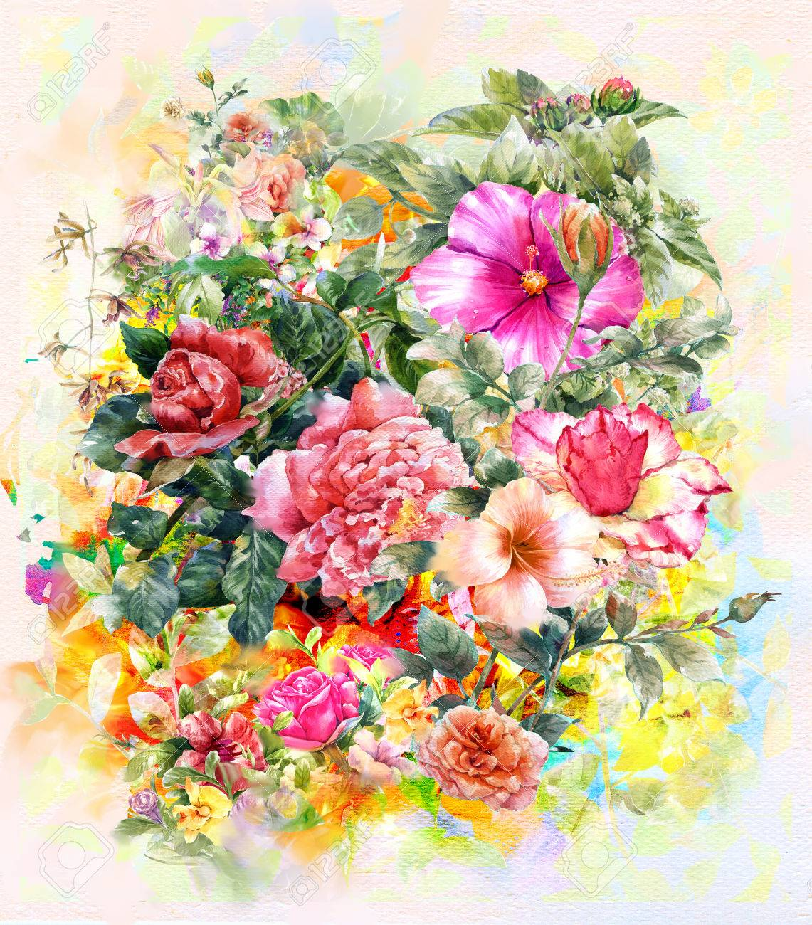 Bouquet Of Multicolored Flowers Watercolor Painting Style.digital ...