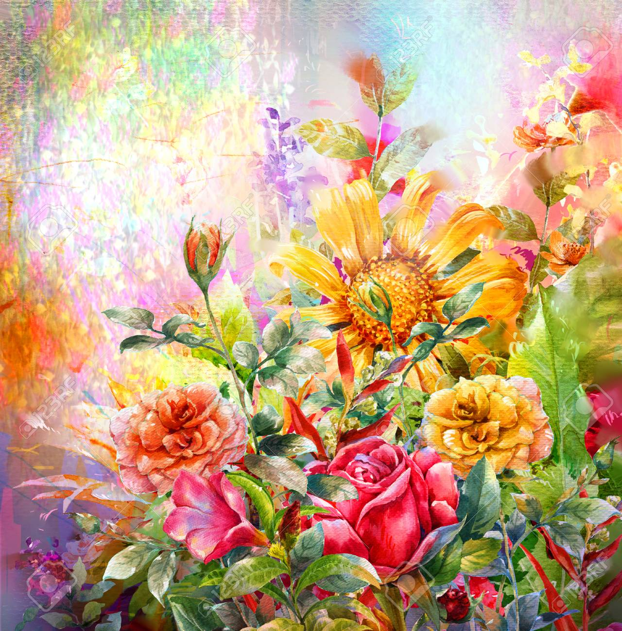 Abstract Flowers Watercolor Painting Spring Multicolored Flowers