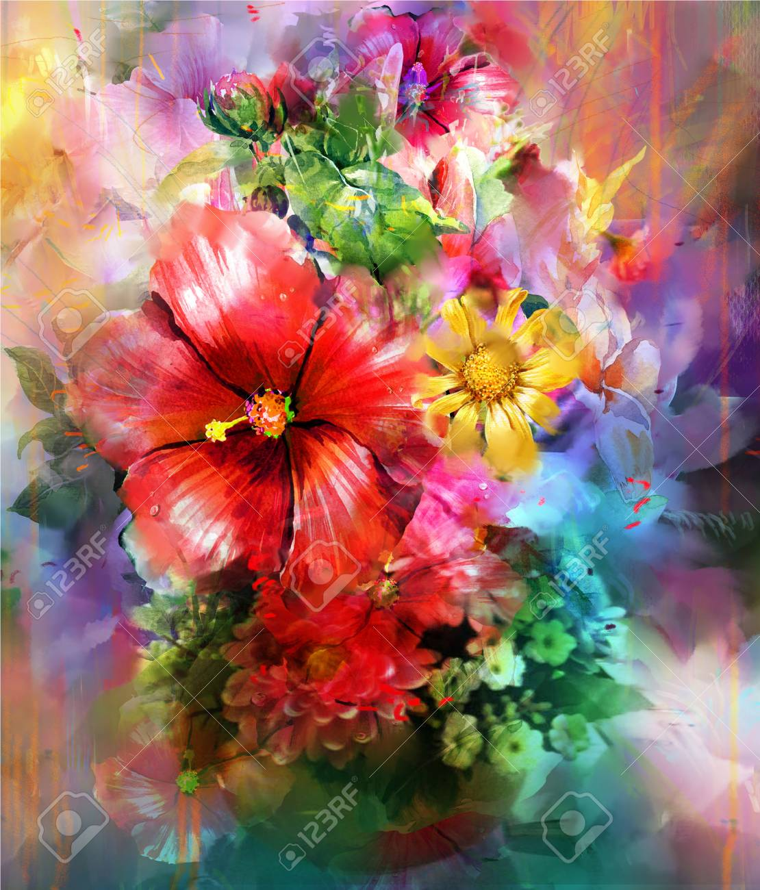 Abstract Colorful Flowers Watercolor Painting. Spring Multicolored ...