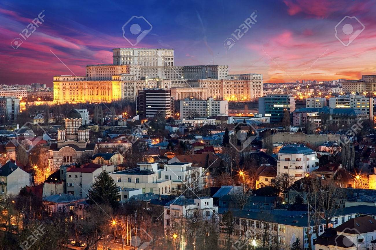 Bucharest Aerial View of Parliament Palace at Sunset - 53395007