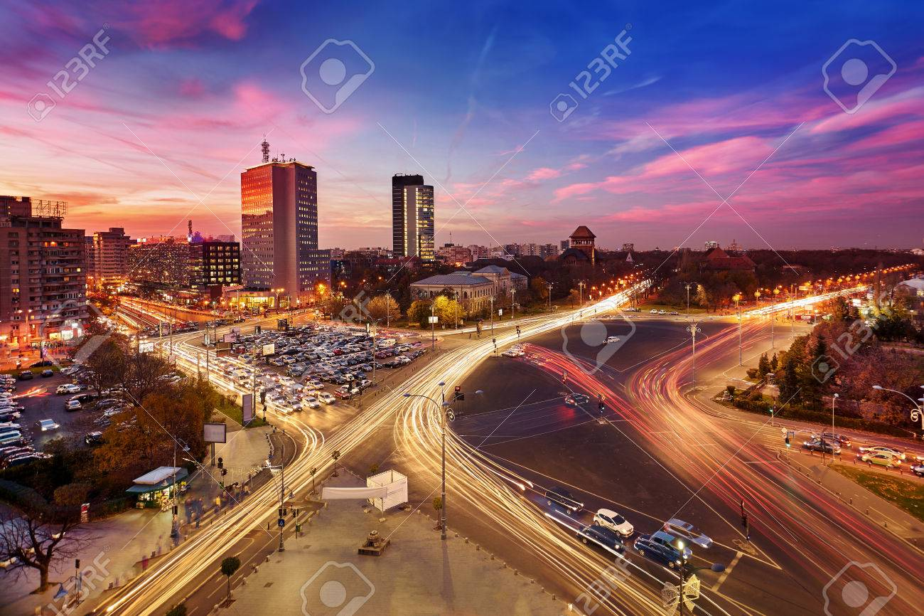 Bucharest. Aerial view of Victory Square at sunset. - 53394875