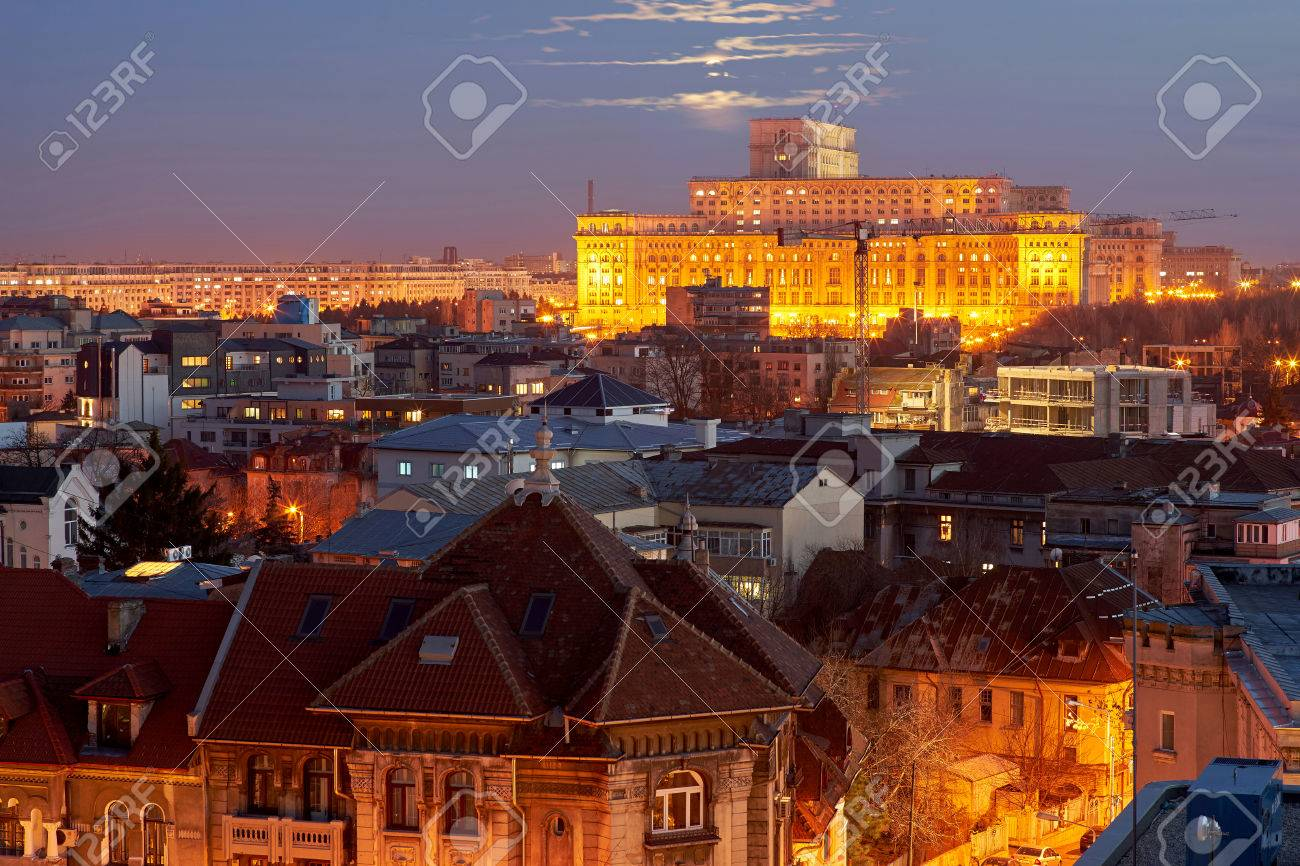 Bucharest Aerial View of Parliament Palace at Sunset - 53394878