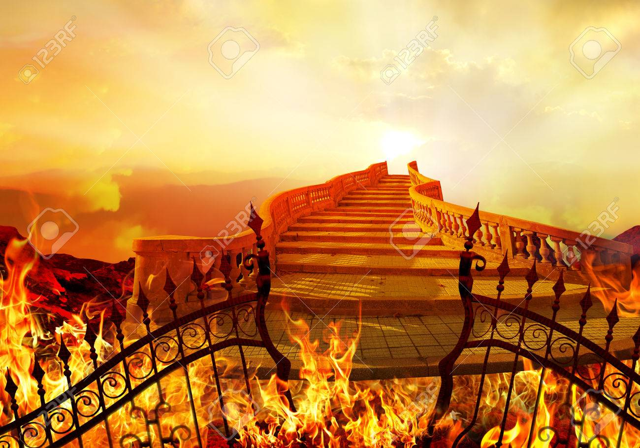 Stairway to Heaven Coming from Hell. Success Concept. - 53394510