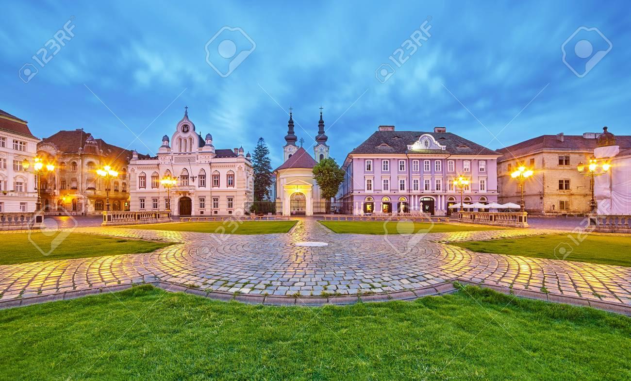 Timisoara City in Romania at Night. Central Square. - 60516433