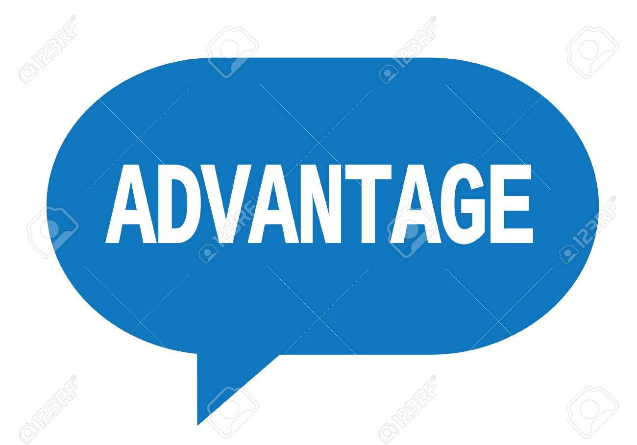 ADVANTAGE text in blue speech bubble simple sign with rounded corners. - 88961883