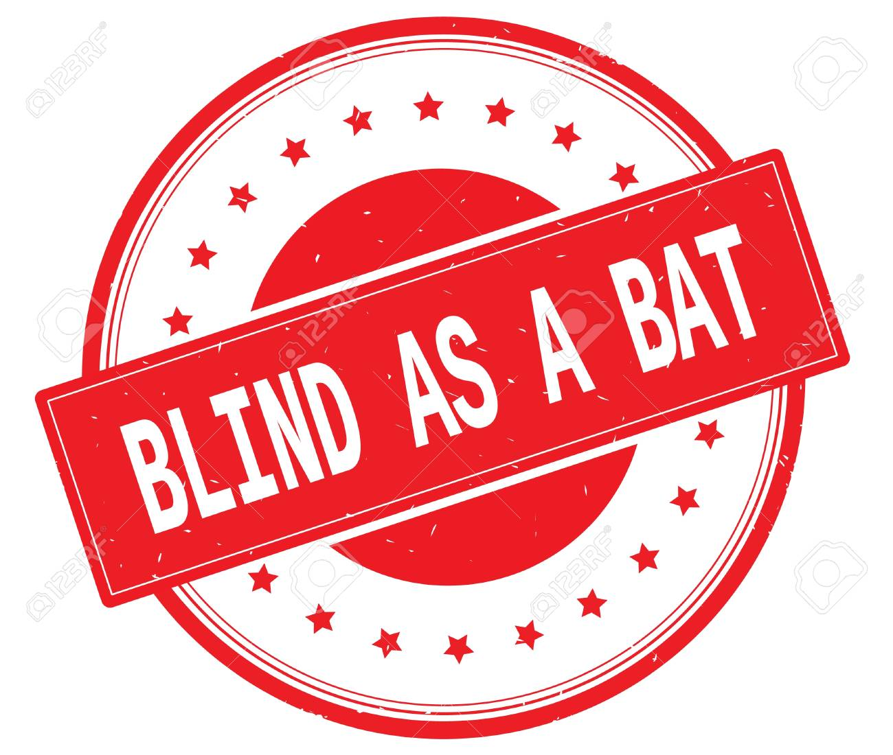 BLIND AS A BAT Text On Round Vintage Rubber Stamp Sign With Stars Red
