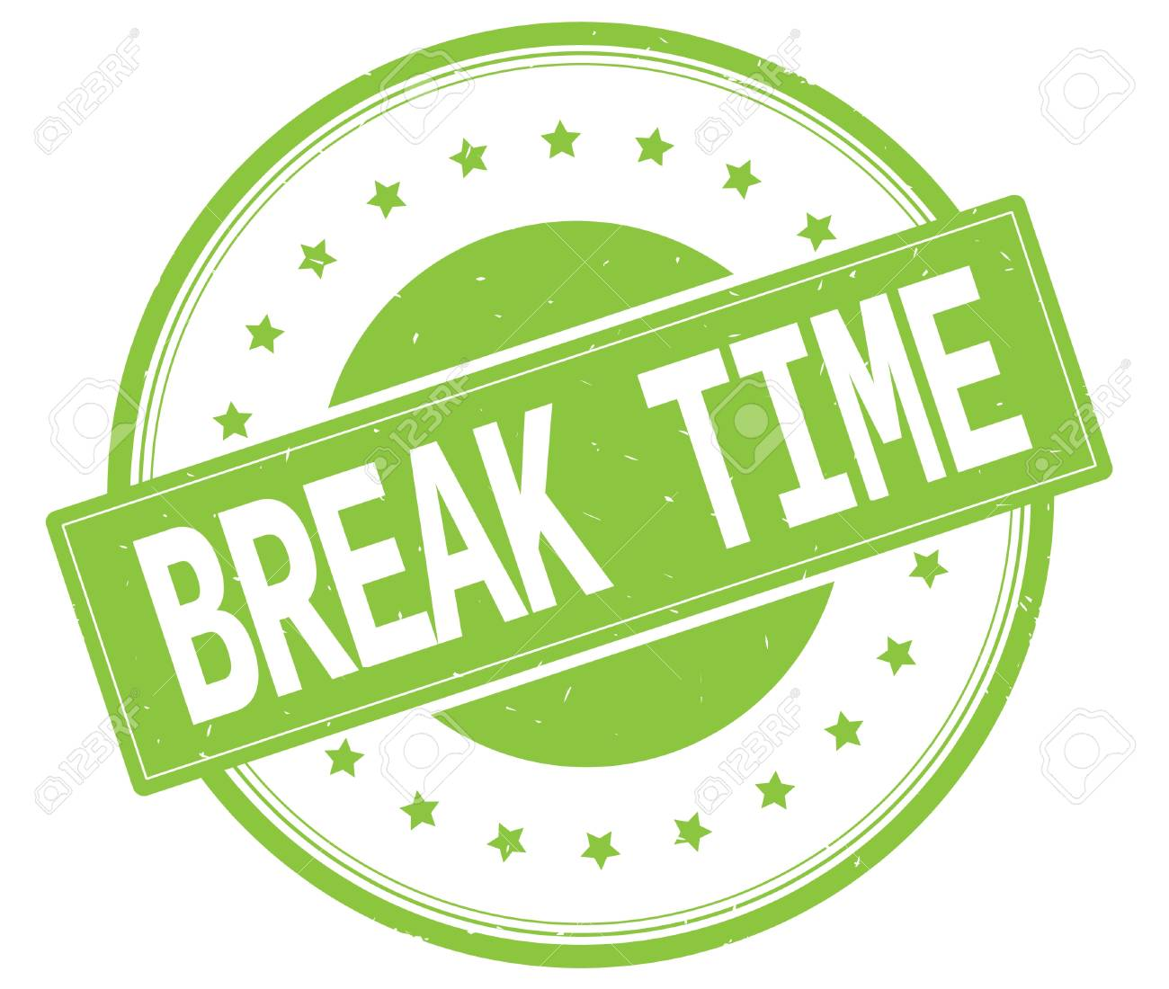BREAK TIME Text On Round Vintage Rubber Stamp Sign With Stars Green Color