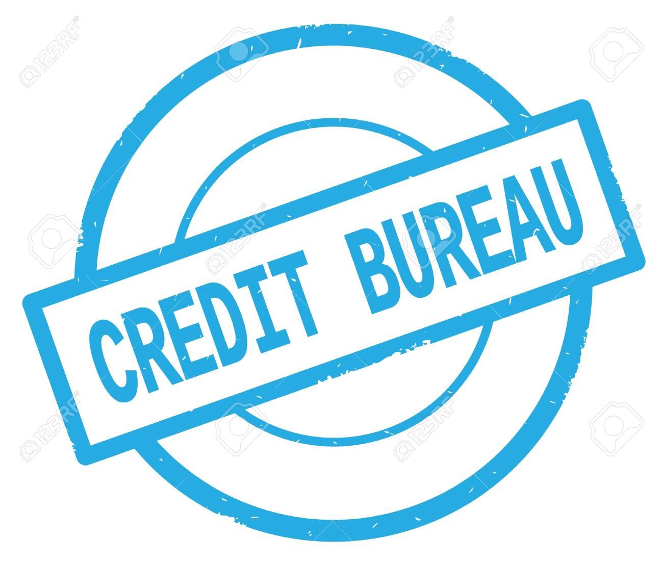 CREDIT BUREAU Text, Written On Cyan Simple Circle Rubber Vintage