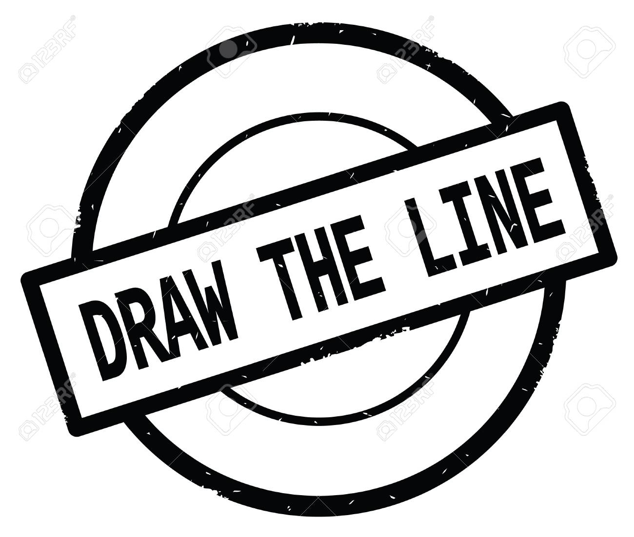 Draw The Line Text Written On Black Simple Circle Rubber Vintage
