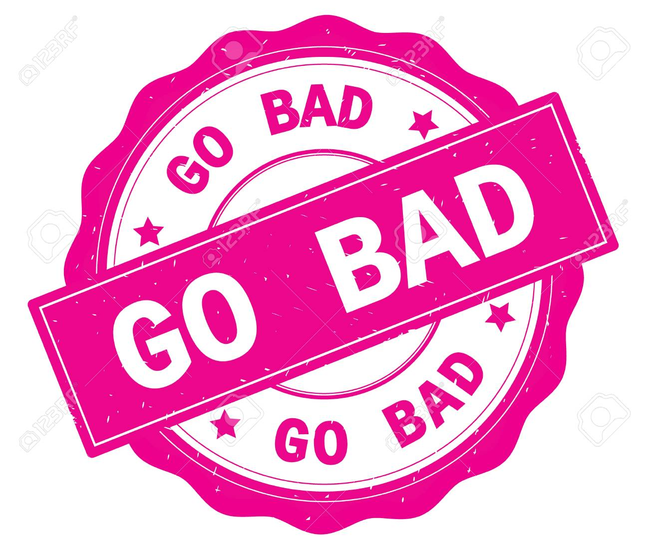 GO BAD Text, Written On Pink, Lacey Border, Round Vintage Textured Badge  Stamp